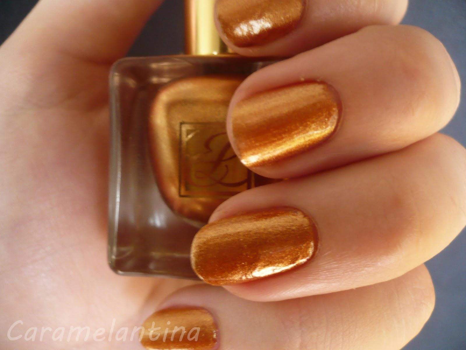 Estée Lauder 48 Bronze Heat, opiniones swatch review, esmalte dorado