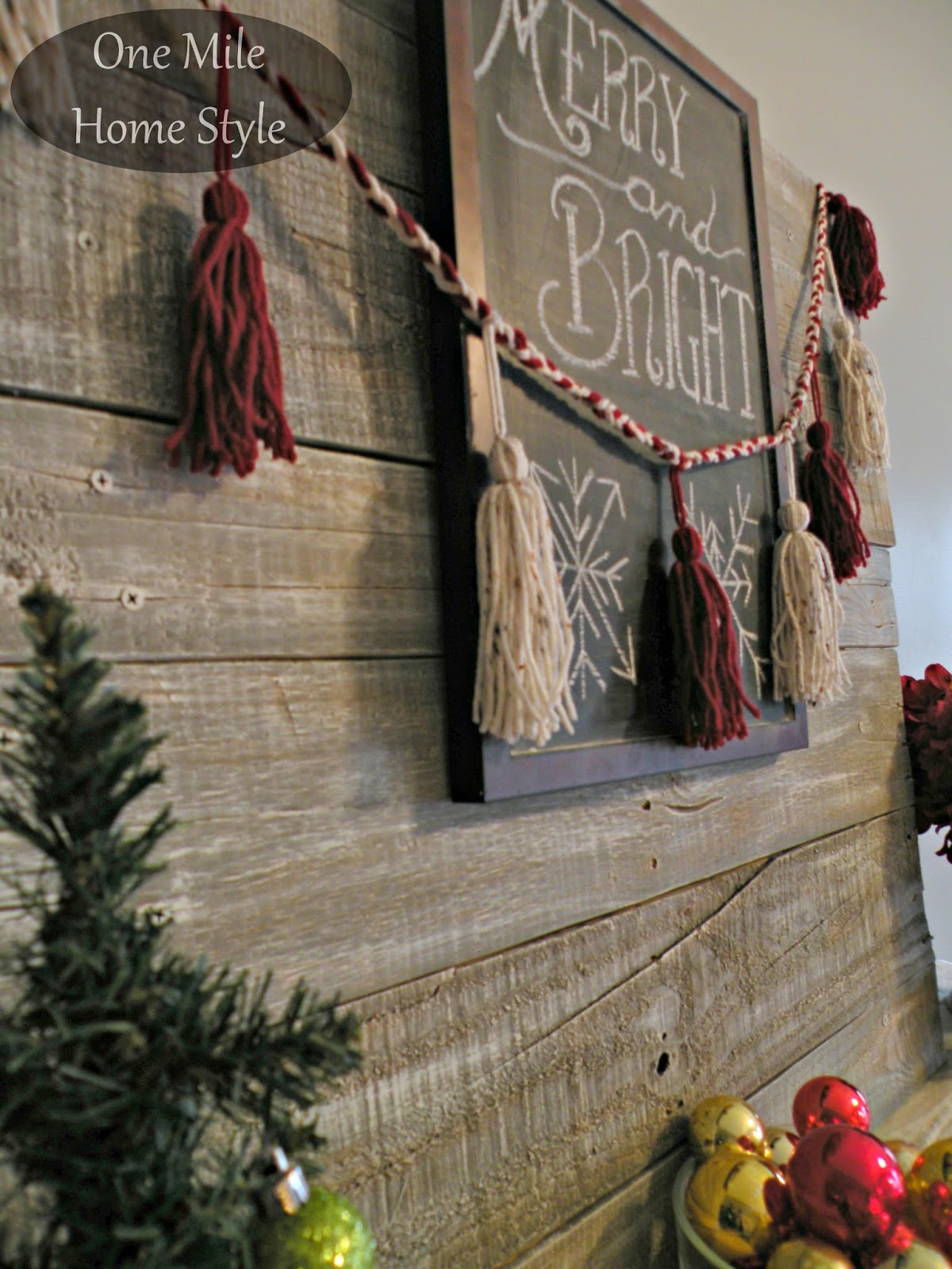 Merry & Bright Christmas Chalkboard and DIY Red and White Yarn Tassel Garland