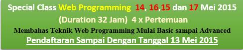 Training Web Programming Registrasi s/d 13 Mei (Kls Terbatas Max 4 Org)