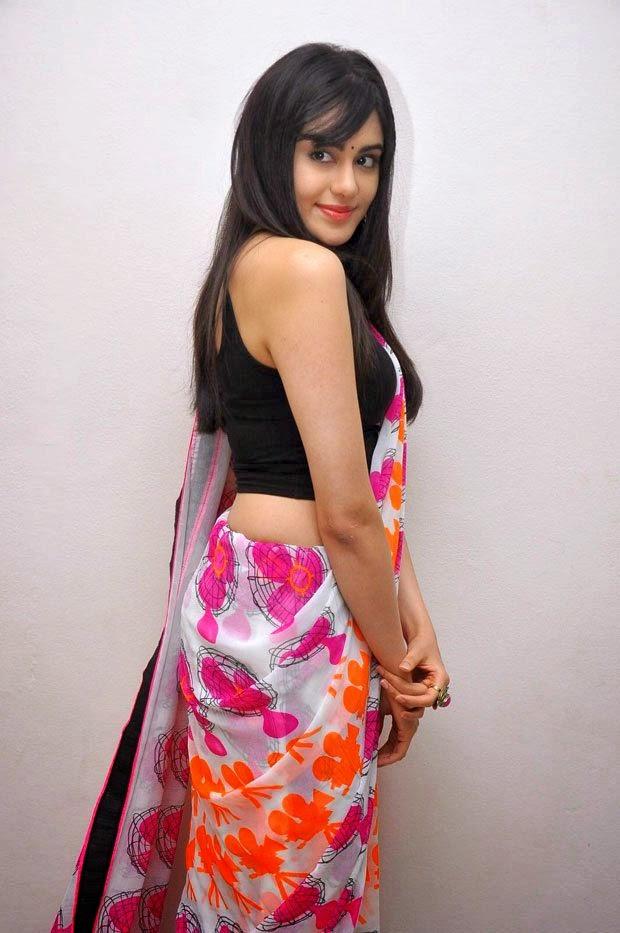adah sharma hot backless saree pics