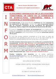 ELECCIONES SINDICALES EN LA DELEGACIÓN TERRITORIAL EN CÁDIZ DE LA CONSEJERÍA DE AGRICULTURA, GANADE