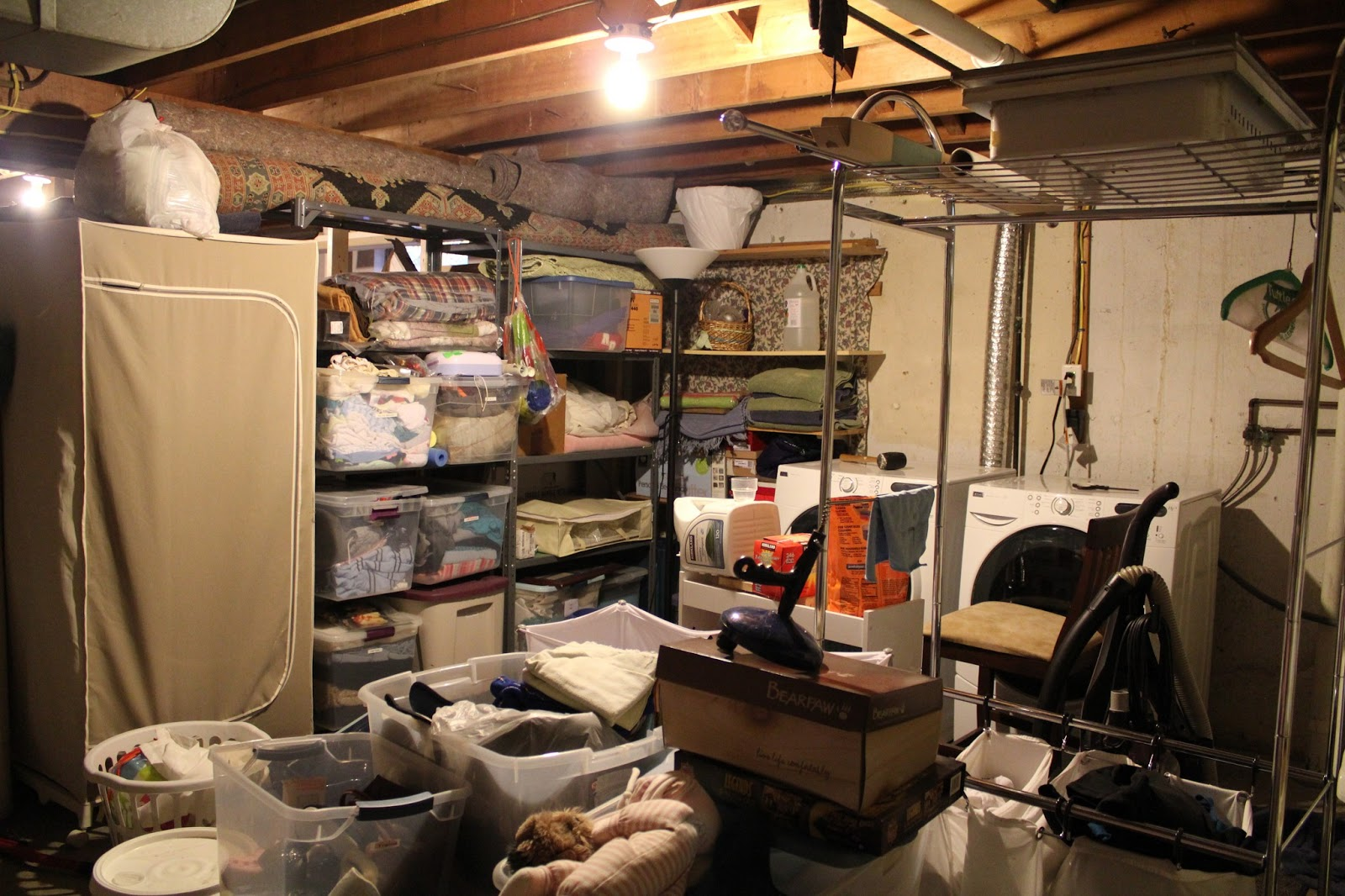 displaying 13 images for unfinished basement storage ideas