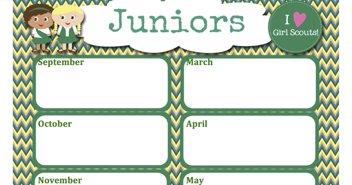 fashionable moms girl scouts free juniors calendar editable word format. Black Bedroom Furniture Sets. Home Design Ideas