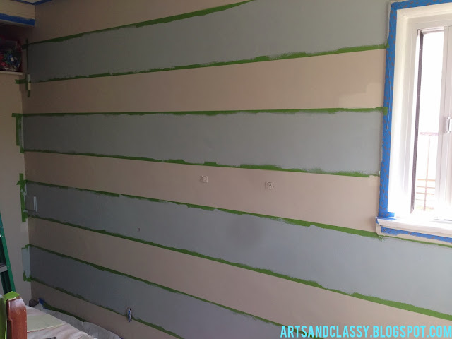 Parent 39 S Room Makeover Striped Accent Wall Tutorial Arts And Classy
