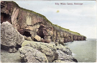 Vintage postcard of Tilly Whim Caves, Swanage, Dorset