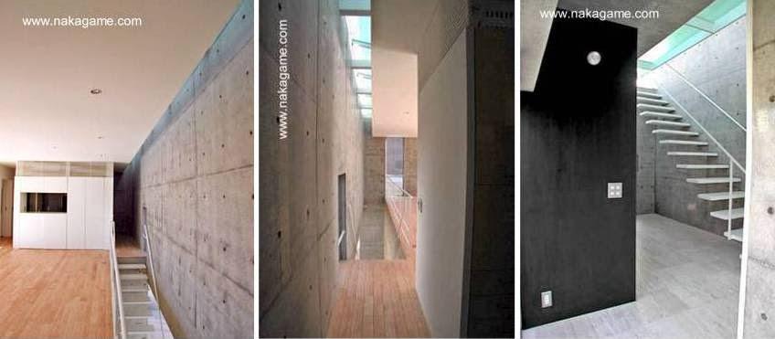 Tres imágenes del interior de la casa próximo a las escaleras