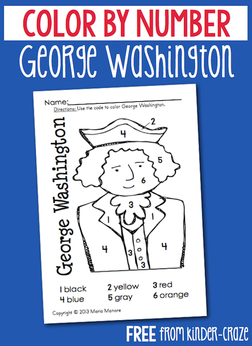 FREE color by number George Washington