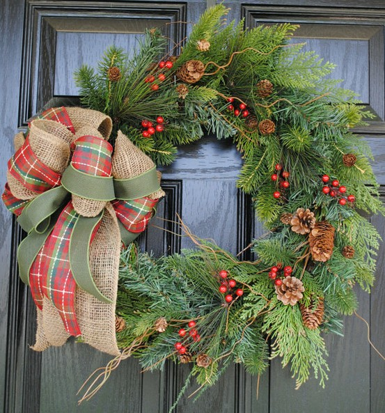 I Love This Simple Rustic Wreath For The Front Door Bow With Plaid Solid Green And Burlap Ribbon Could Easily Add A Like To My