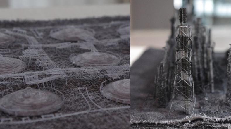 Paisajes urbanos industriales en miniatura construidos a partir de fibras de tela y cabello humano