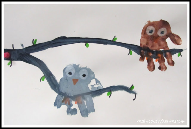 photo of: Hand Print Painted Owl Keepsake in Preschool via RainbowsWithinReach