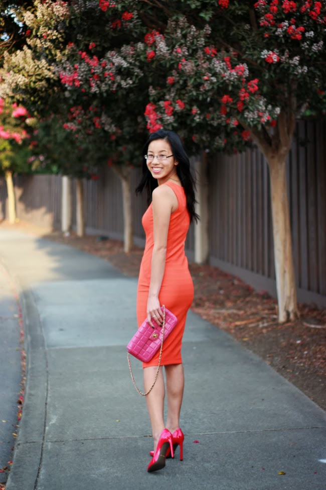 orange outfit fall spring color trend idea