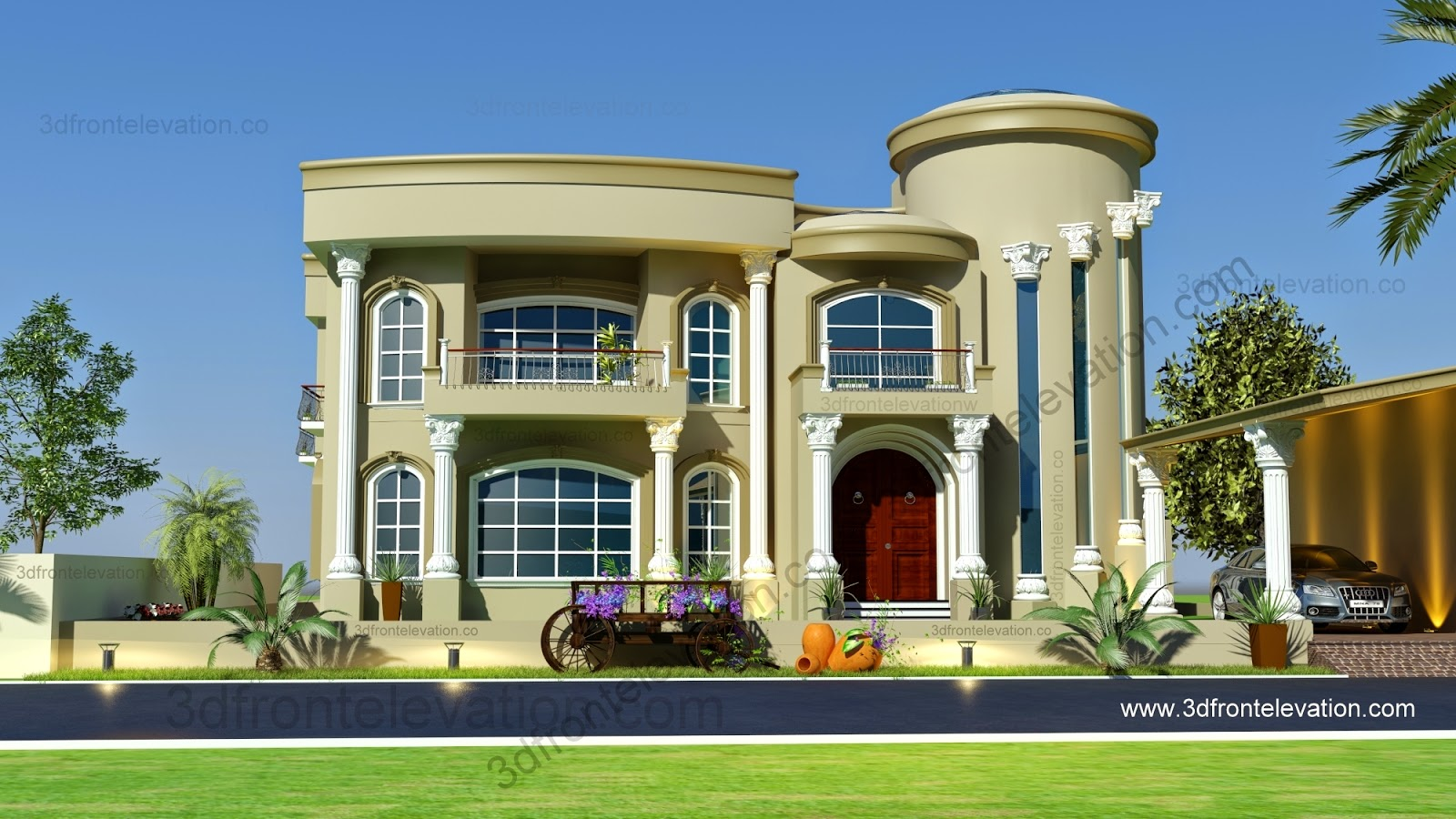 3d front beautiful modern villa design 2015 for Contemporary villa plans