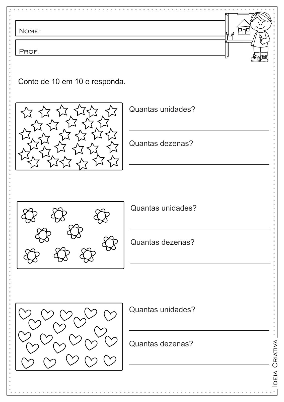 Atividades educativas Matemática Dezena e Unidade e Sinais de Maior que e Menor que para Ensino Fundamental