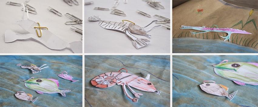 Peces con clip para el juego de pesca handmade manualidad diy