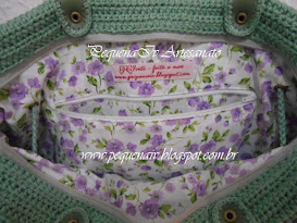 Bolsa Jolie Verde antigo - Estampa floral lilás