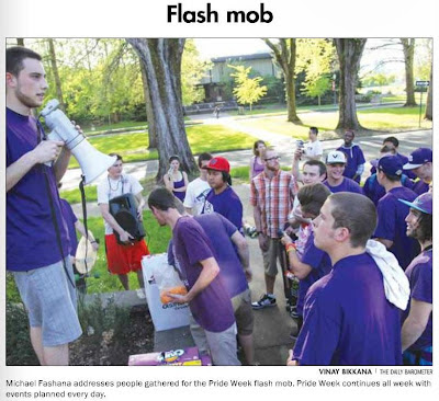 OSU Pride Week Flash Mob front page Barometer May 8, 2012, p. 1