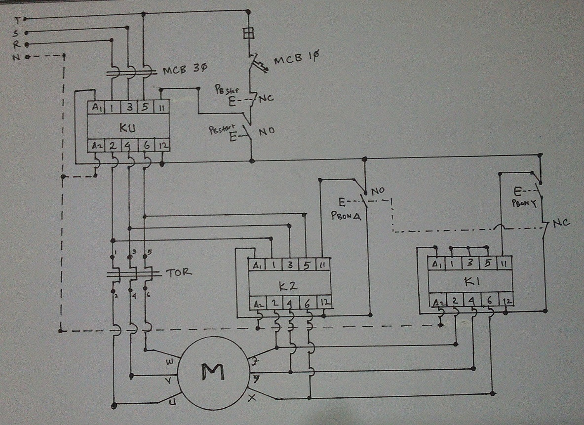 Wiring Diagram For A 3 Phase Motor Starter : Wiring diagram star delta connection in phase induction