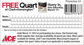 Free Quart of Clark+Kensington Paint at Ace Hardware (valid 3/17/12)