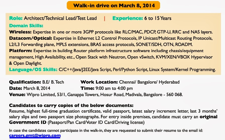 it engineering technical jobs in india wipro walk in drive on
