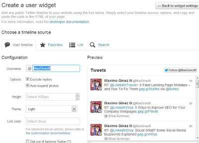 How to Add Twitter Feed Widget on Blogger Procedure 4 by www.maxginez3.com
