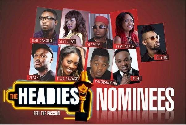And The 2014 Headies Nominees Are Tiwa Savage, Davido, Patoranking,…………