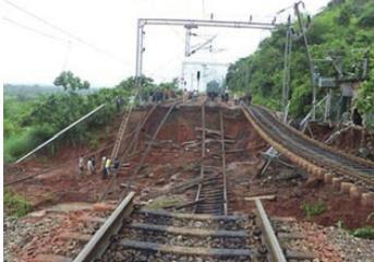 The railway track of Kirandul line collapses