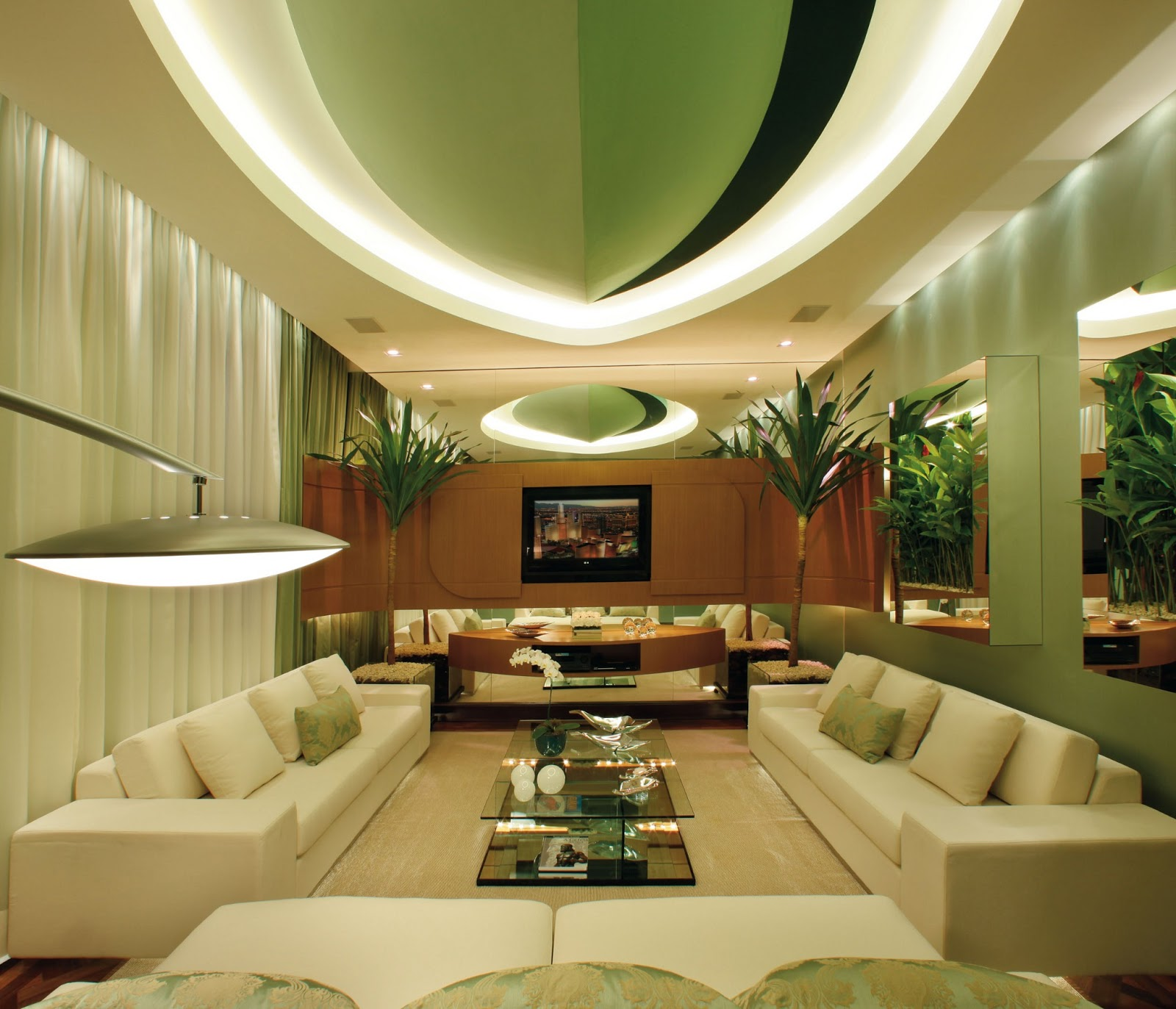 Paredes Verdes Na Sala Paredes Tons Madeira Claro Na Parede Ao  -> Sala De Tv Verde