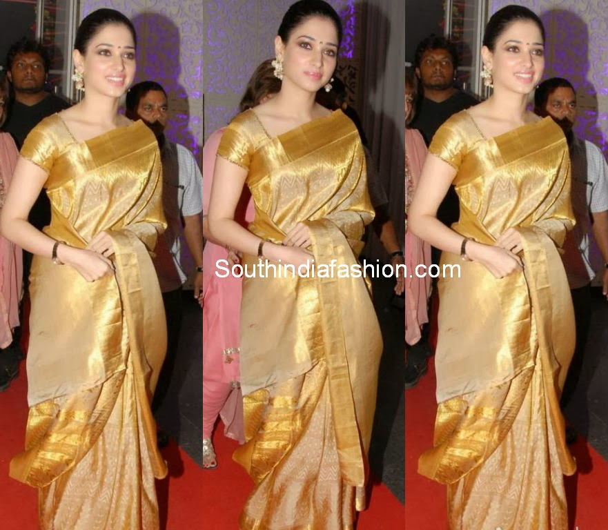 gold color silk saree