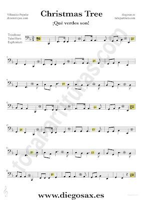 Tubepartitura Qué verdes son partitura para Trombón, Tuba Bombardino y Trompa Partitura de Villancico de Navidad