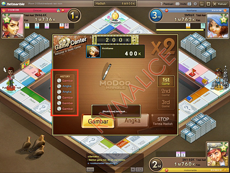 Cara Memenangkan Game Center di Modoo Marble :