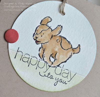 Close up of dog stamped with Storytime Friends from Stampin' Up