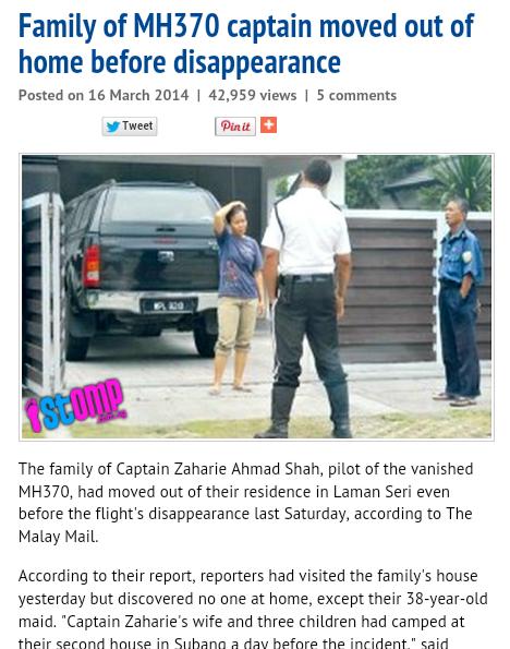 KENAPA ANAK ISTERI KAPTEN ZAHARIE LARI SEHARI SEBELUM PESAWAT MH370 HILANG