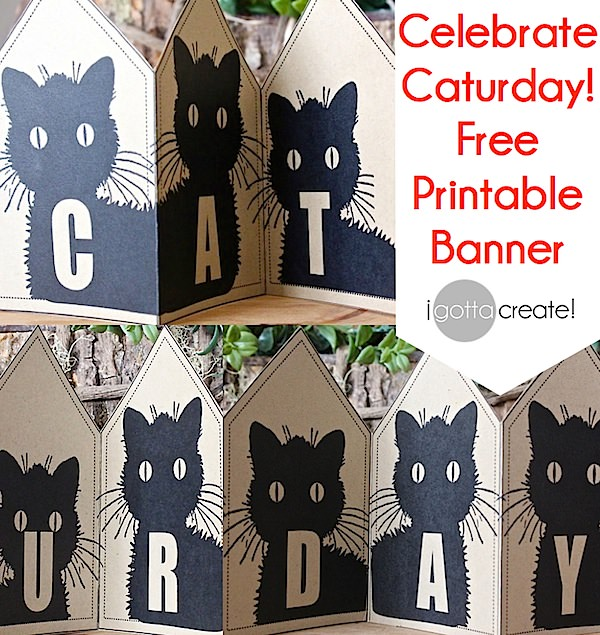 I love #caturday! Grab this free printable banner at I Gotta Create!