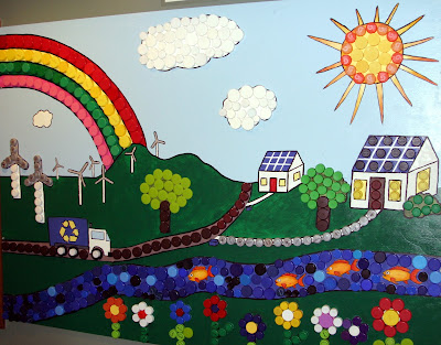 City of rolla missouri bottle cap mural displayed at for Annual day stage decoration images