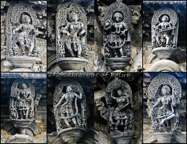 Various poses of Madanika's at the Belur Chennakeshava temple.