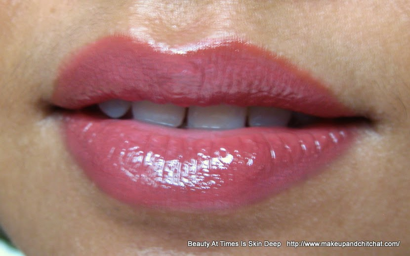 NYX Megashine Lip Gloss Beige and NYX Lip Liner Coffee Lipswatch