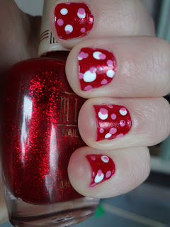 valentine's day nails, red with white and pink dots