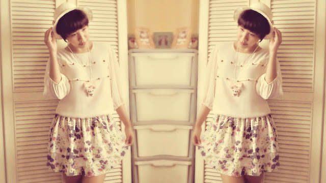 ootd, korilakkuma, outfit of the day, picnic outfit, floral chiffon dress