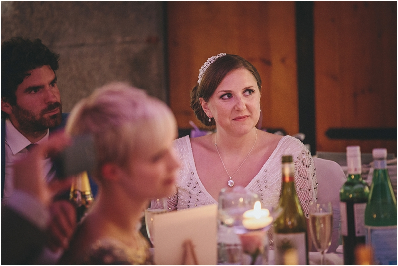 Bride listening to speech