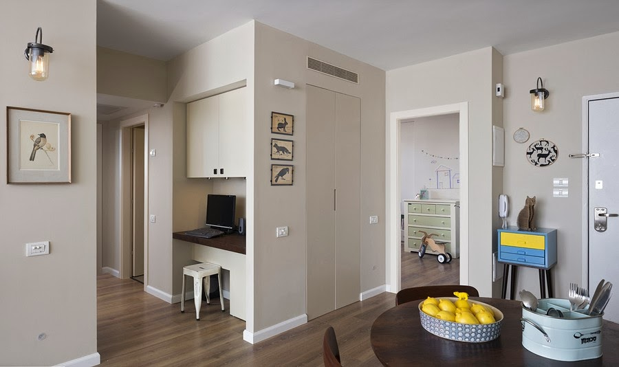 amenajari, interioare, decoratiuni, decor, design interior , apartament, gri, albastru , galben, living, birou