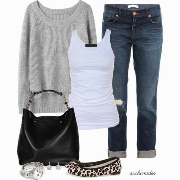 Grey sweater white blouse denim pants denim pants with sleeper