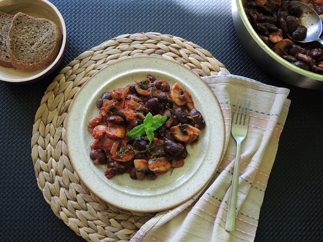 Black beans with white mushrooms, Mediterranean Diet, Monastic Recipes of Mount Athos,