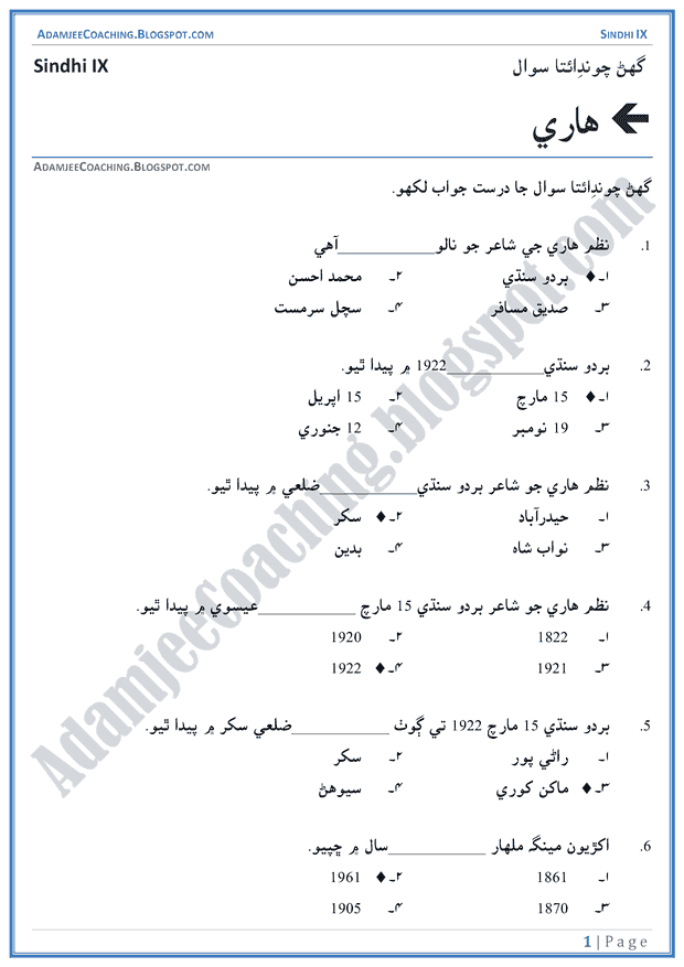 kisan-multiple-choice-questions-sindhi-notes-for-class-9th