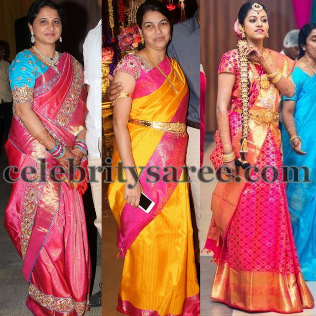 Colorful Silk Saris with Work