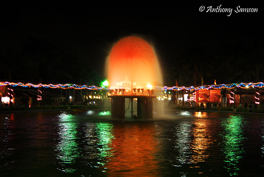 Beautiful fountian with colorful lights
