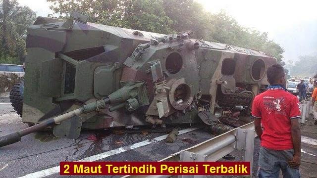 Ngeri 4 Gambar 2 maut Tertindih kereta Perisai Tentera terbalik di Lebuhraya PLUS