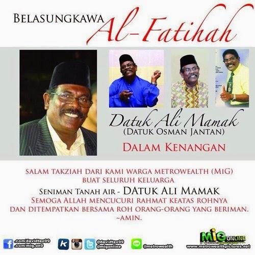 datuk Ali Mamak meninggal dunia, osman jantan meninggal dunia