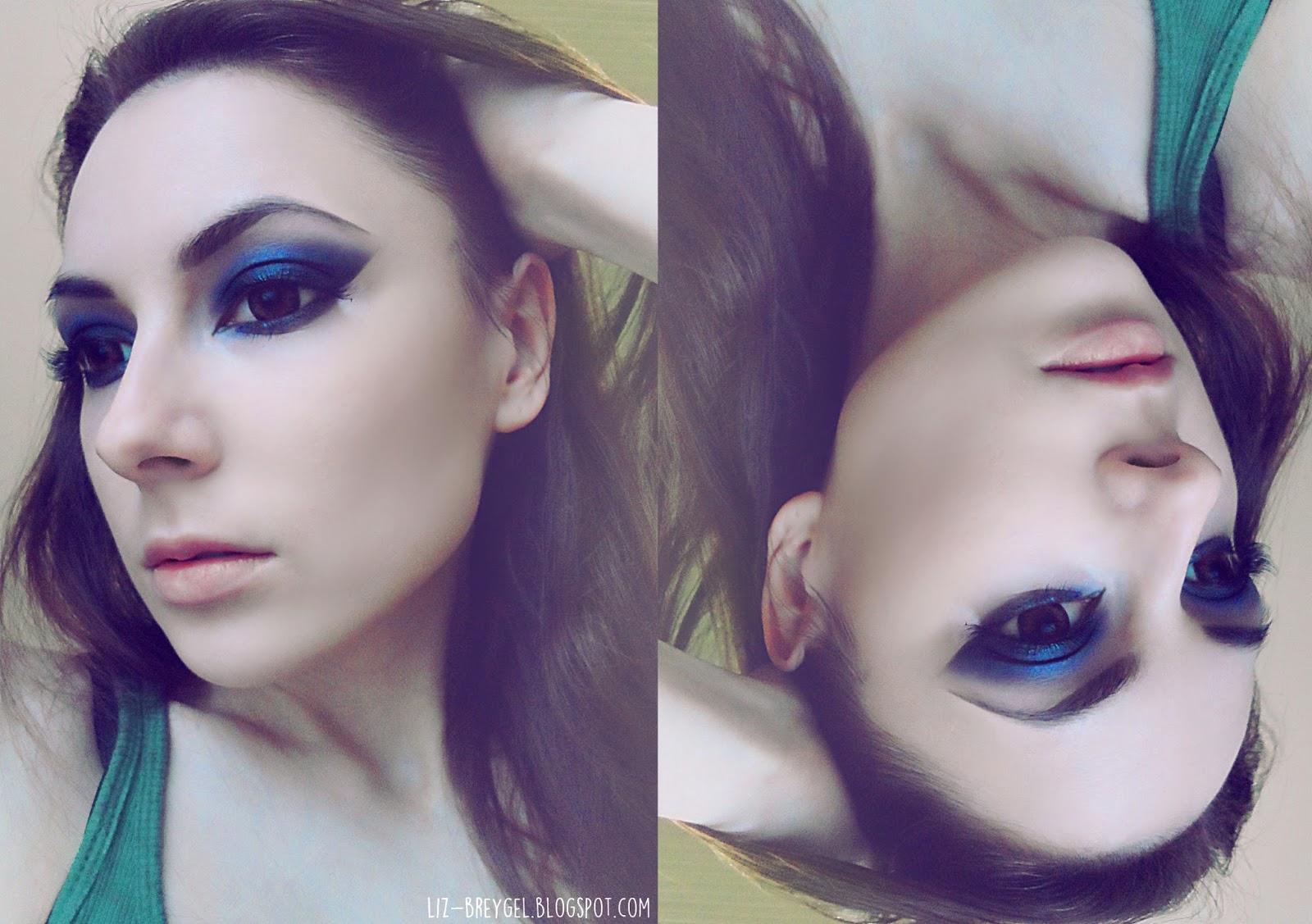 dark navy makeup look step by step smoky makeup tutorial