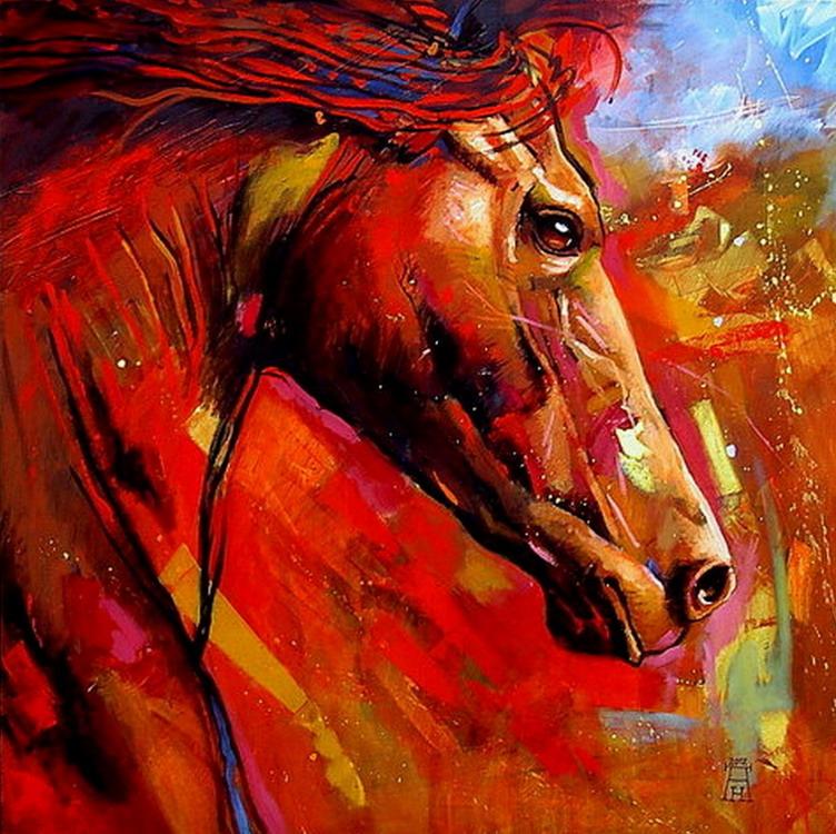 Im genes arte pinturas arte abstracto caballo en pintura for Imagenes de cuadros abstractos para habitaciones