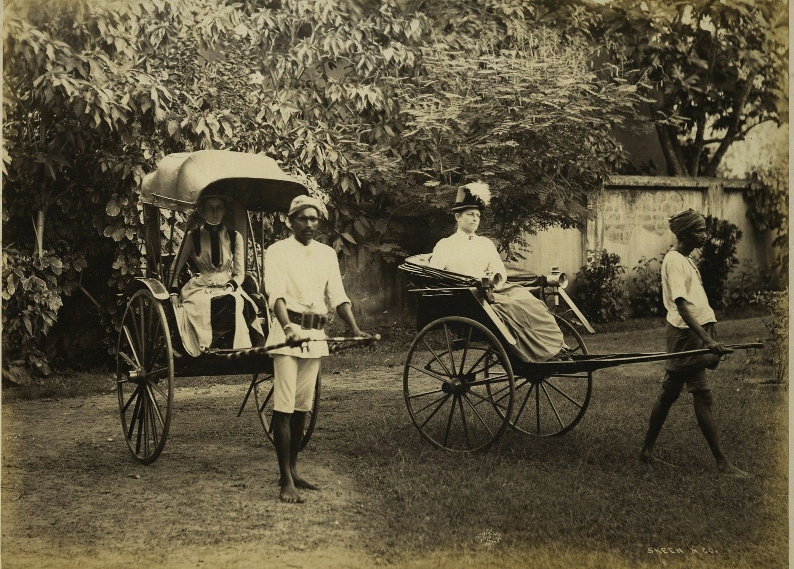 Two British Women In Rickshaws - Ceylon (Sri Lanka) c1870's